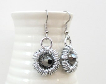 Gray earrings, crystal earrings, chainmaille jewelry