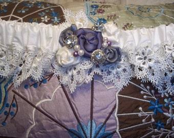 Bridal Garter - Custom Garter in Ivory with Lavender, Plum and Charcoal - Vintage Sparkle - A Bijoux Bridal Chicago Signature Design
