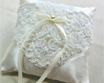 Creamy Ivory Satin Ring Bearer Pillow with Alencon Lace embroidered with Pearls