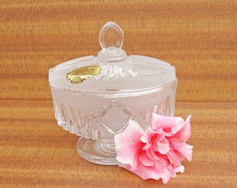 Vintage Lead Crystal Footed Trinket Box, Satin Crystal Jewelry Box, Made in Italy, UK Seller