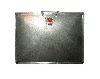 Vintage 800 Silver Compact  with Red Coral Catch. - Silver Accessories C1950 - Mirrored Compact Italian Silver Giftware