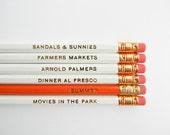 Summertime Pencils- White, Orange, & Gold, Set of 6, Stocking Stuffers
