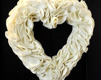 Ivory Heart Wreath, Wedding Wreath Valentines Day Wreath Ruffled Heart