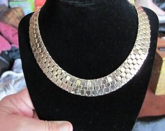 SALE ! Vintage Signed REINAD Snake Scale Choker Necklace