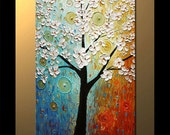Blooming White Cherry Tree Oil Painting Oil Fine Art  Thick Impasto Texture Painting  blue, ochre, white, by P. Nizamas