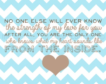 8x10 nursery art print: What My Heart Sounds Like from the Inside (you choose colors)