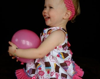 Parley Ray Lil' Cupcake Birthday Pinafore Dress with Ruffled Baby Bloomers / Diaper Cover