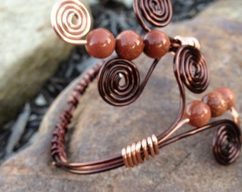 copper wire wrapped bracelet with shimmery copper beads
