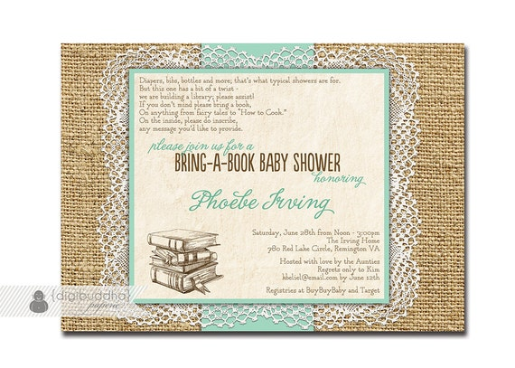 lace burlap baby shower invitation bring a book mint rustic, Baby shower invitations