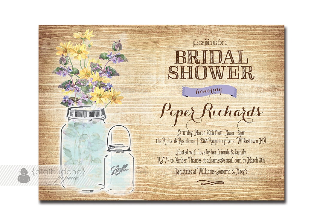 Mason Jar Bridal Shower Invitation Rustic by digibuddhaPaperie