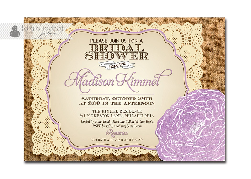 Free Wedding Shower Invitations: Lace Burlap Bridal Shower Invitation Vintage Rustic Baby Pink