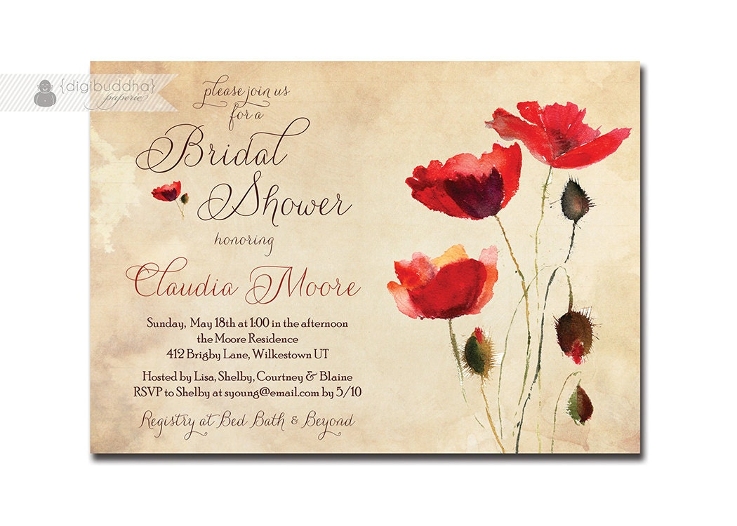 Vintage Poppies Bridal Shower Invitation Rustic Chic Red Poppy ...