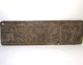 Vintage  Kansas Metal License Plate Rusted and Naturally Distressed 1934