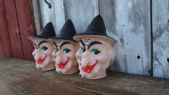 1 Vintage Halloween Witch Doll Head Rubber Plastic Witch Head Large