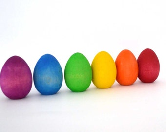 Easter Eggs - Rainbow Wooden Toy - Wood Waldorf Toy - Flat End for Standing