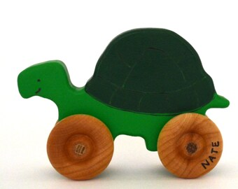 Wood Toy Turtle - Wooden Push Toy - Personalized - Waldorf Toy