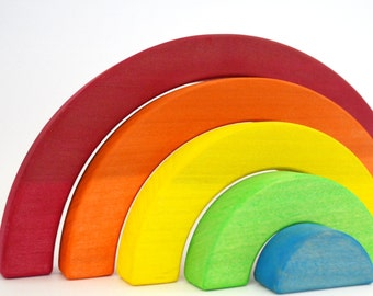 Wood Toy - Rainbow Stacker - Waldorf Toddler Toy - Wooden Stacking Toy - Rainbow Wooden Toy