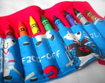 Hockey Bears Crayon Roll Up