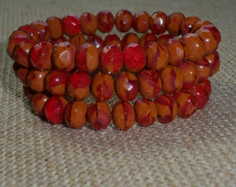 Red Brown Bead 6x8mm Czech Glass Rondelle SMOKED PAPRIKA (10)