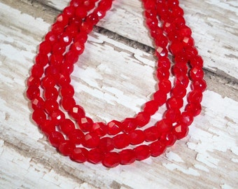 Red Czech Glass 4mm Bead Firepolish Faceted Round CHERRY GROVE (50)