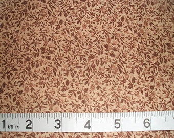Small Dark Brown Floral/Leaves on Light Peach 100% Cotton Fabric