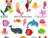 Mermaid Clipart, Ocean Clipart, sea Clipart, Underwater clipart, Instant download