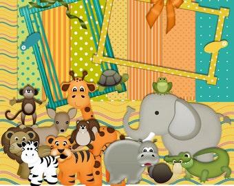 Zoo Scrapbook Kit, Animal Scrapbook Kit, Jungle Scrapbook, Instant Download, animal Clipart