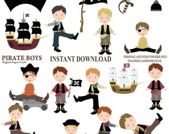 Pirate Clipart, Pirates, Children Clipart, Birthday Clipart, Instant Download