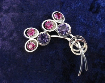 Beautiful SILVER TONE BROOCH - Made by Continental - Shades of Blue and Amethyst Color Stones