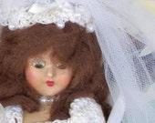 Beautiful Vintage Hard Plastic StoryBook Bride -- Wedding Doll with Original Crocheted Dress