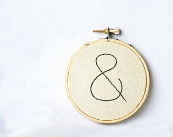 Cream embroidery hoop art / Ampersand Wall Art Home Decor / 3 inch size made to order / natural fresh spring humor