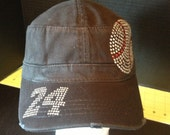 Baseball Rhinestone Embellished Military Style Cotton Hat with number on bill