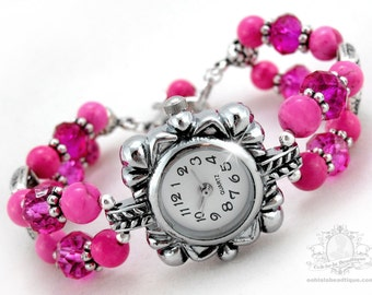 Pink Bracelet Watch, howlite watch, wrist watch, pink watch, adjustable watch, bead watch, ladies watch, womens watch, pink birthstone watch