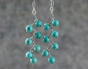 Turquoise zigzag dangle Earrings Bridesmaids gifts Free US Shipping handmade Anni Designs