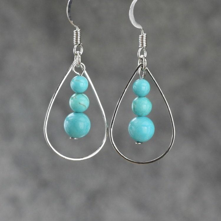 Turquoise Tear Drop Hoop Earrings Bridesmaids Gifts Free US
