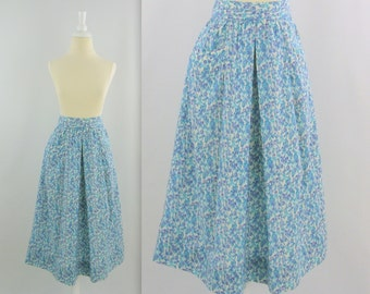 Vintage 1980s A Line Midi Skirt in Turquoise Blue Print - XSmall by Ports International