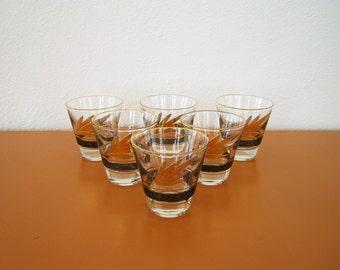 Vintage Black and Gold Cocktail Glasses, Set of Six