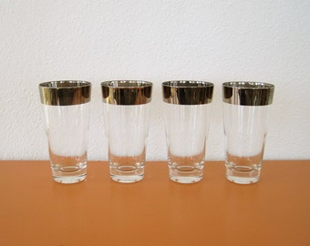 Mid Century Silver Band High Ball Glasses, Tumblers