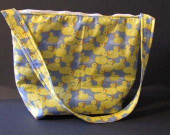 Handmade Yellow Rubber Ducky Print Purse,  over the shoulder purse, Diaper Bag