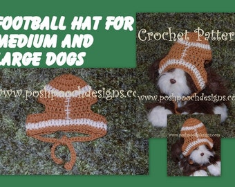 Instant Download Crochet Pattern  - Football Dog Hat for Medium and Large Dogs Football dog Beanie