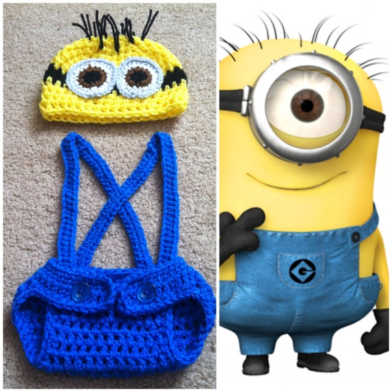 Crochet Patterns For Baby Overalls : Crochet Despicable Me Minion Outfit beanie/hat by Potterfreakg