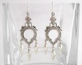 Victorian Keyhole Chandelier Earrings with Silver Dangles