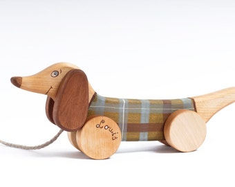 Personalized Wooden Toy Dog, Eco Friendly Pull Along Kids Toy