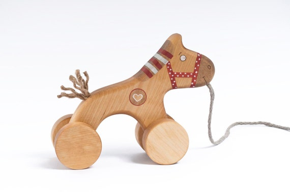 Wooden Red Horse Toy, eco-friendly pull kids toy