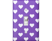 Heart Light Switch Plate Cover / Girls Kids Room / Purple  White / Fairy Tales by Michael Miller