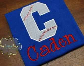 Baseball Letter  Monogrammed and Appliqued Custom Shirt
