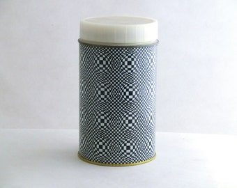 Vintage black and white thermos from Poland 70s