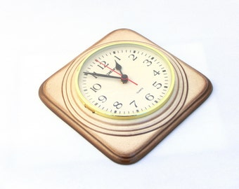 Vintage Wall Clock, Ceramic clock,Flamed cream color,from Germany, Kitchen clock, Unique clock