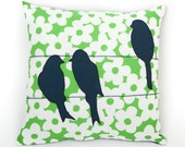 "Bird on a wire"" applique pillow cover - made from recycled fabrics - teal /navy and spring green floral"