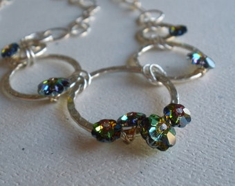 Swarovski Crystal and Hammered Steel Rings Necklace